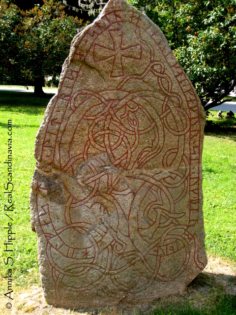 Runestone in Uppsala in Uppland, the province/county with the greatest concentration of runestones.
