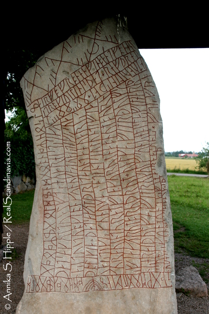 Rökstenen, the longest known runic inscription, with runes covering all sides of the stone.