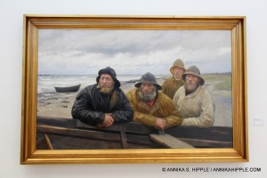 Four Fishermen at a Boat on the Beach at Skagen, by Michael Ancher